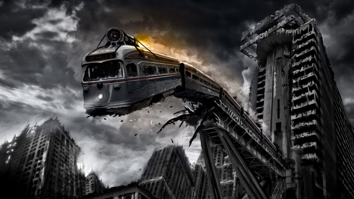 Train falling from the broken bridge, city, sky, cloud, skyscraper, artistic wallpapers and stock photos