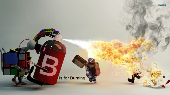 B is for burning, fire, smoke, rubik, artistic wallpapers and stock photos
