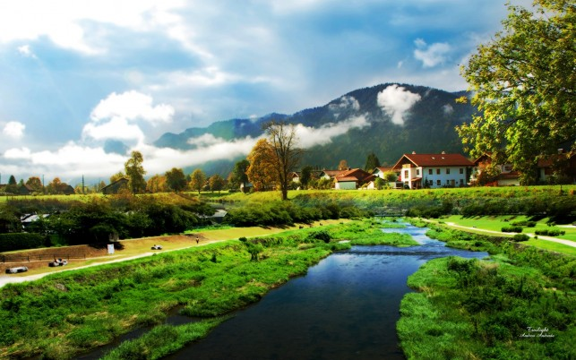 Village  scenery, nature, walls wallpapers and stock photos