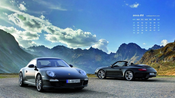 Porsche Carrera Black Edition, themes, january, calendar wallpapers and stock photos