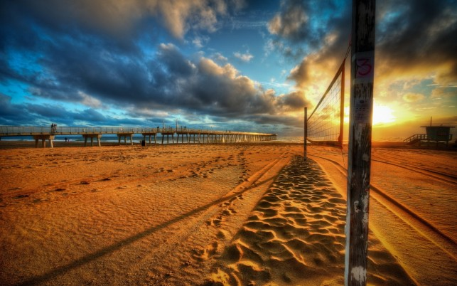 Hermosa Beach, volleyball, colors, sky, clouds wallpapers and stock photos