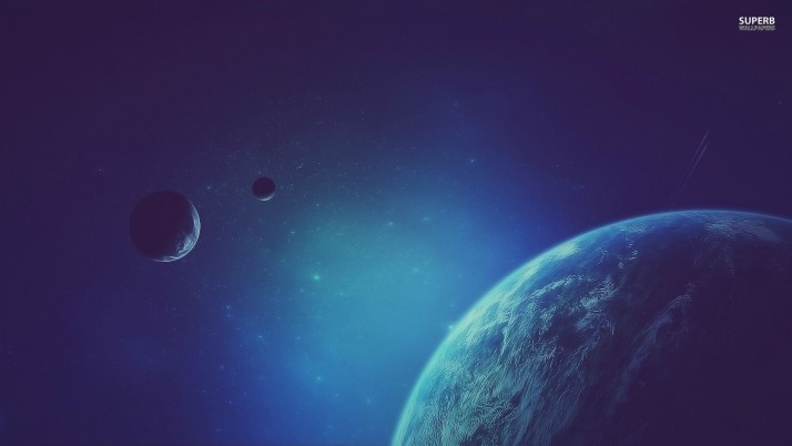 Blue planets, moon, star, fantasy wallpapers and stock photos