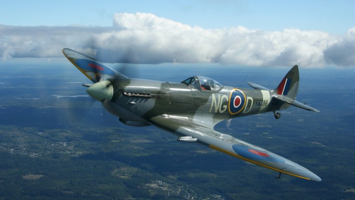 Spitfire, aircrafts, planes, clouds wallpapers and stock photos