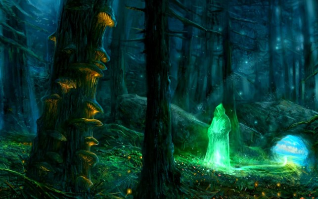 Sorcerer in the woods, forest, tree, fantasy wallpapers and stock photos