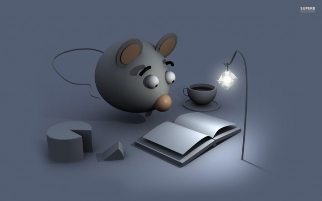 Mouse reading a book, lamp, cheese, 3d wallpapers and stock photos