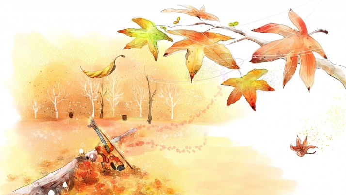 Violin in the park, autumn, tree, digital-art wallpapers and stock photos