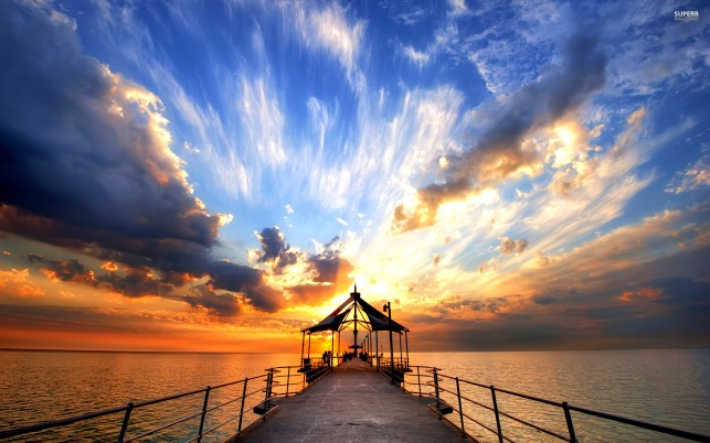 Pier at dusk, sky, sea, beach, beaches wallpapers and stock photos