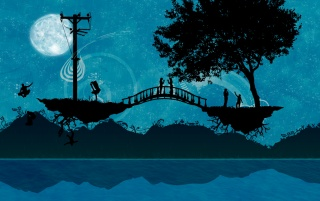 Lovers on a bridge wallpapers and stock photos