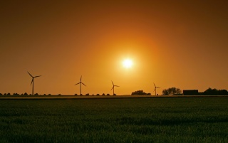 Windmills at sunset wallpapers and stock photos