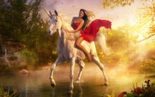 Woman on unicorn wallpapers and stock photos