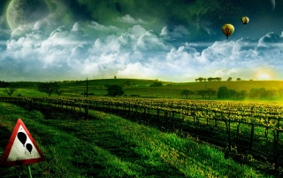 Balloons over fields wallpapers and stock photos