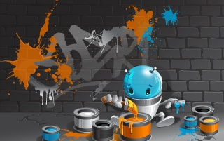 Alien de Graffiti wallpapers and stock photos
