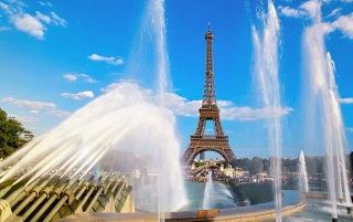 Eiffel tower and water wallpapers and stock photos