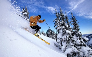 Skiing through snow wallpapers and stock photos