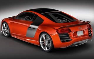 Red R8 rear side wallpapers and stock photos