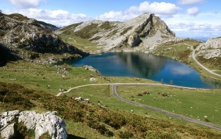 lake enol,covadonga,asturias wallpapers and stock photos
