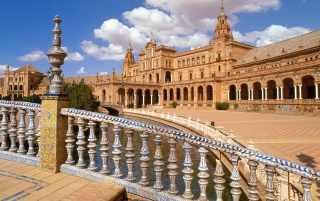 plaza de espana, seville wallpapers and stock photos