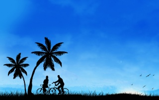 Bicycles in the field wallpapers and stock photos