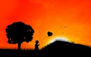Girl with heart balloon wallpapers and stock photos