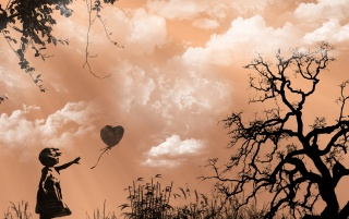 Girl and heart balloon wallpapers and stock photos
