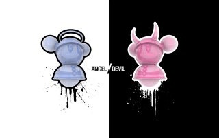 Angel and devil wallpapers and stock photos
