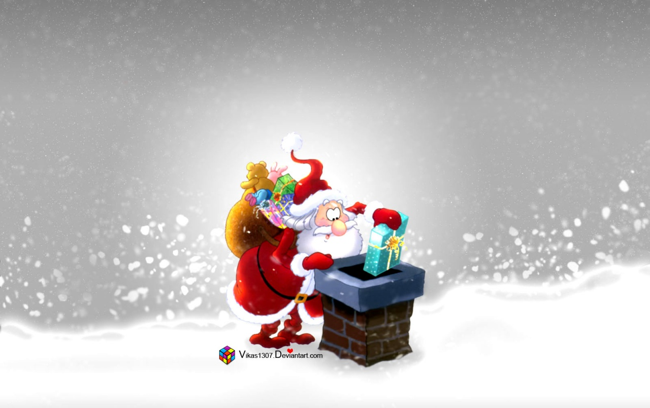 Santa on the roof wallpapers