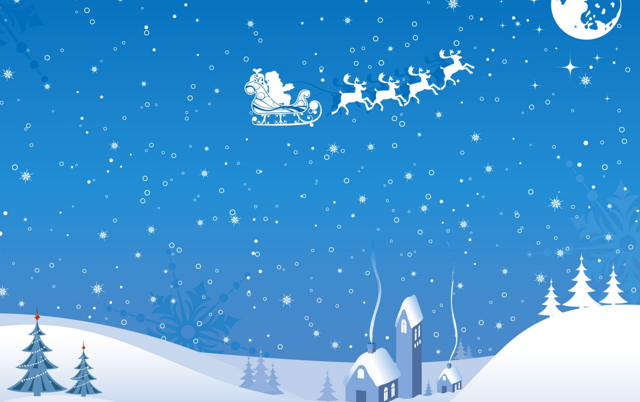 Xmas sleigh flying wallpapers