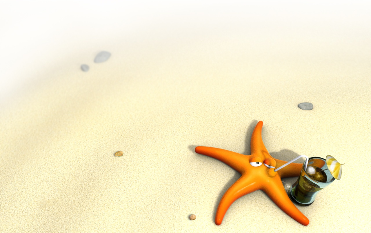 Starfish on the sand wallpapers