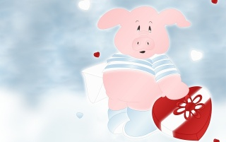 Pink pig with heart wallpapers