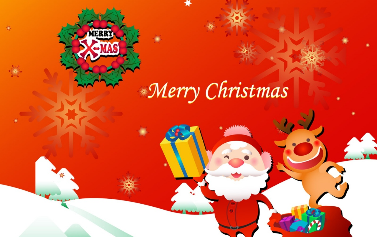 Santa And Rudolf Merry Christmas Wallpapers