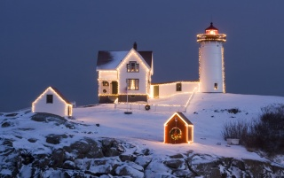 Lighthouse with decorations wallpapers