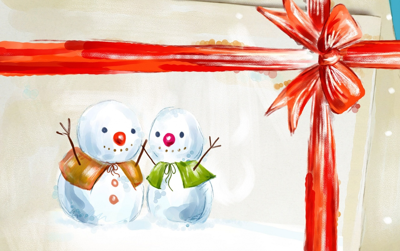 Two painted snowmen wallpapers