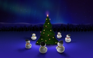 Snowmen around tree wallpapers