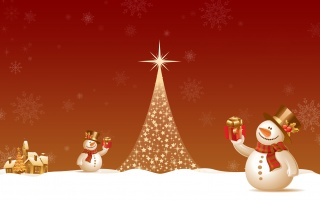 Snowmen with presents wallpapers