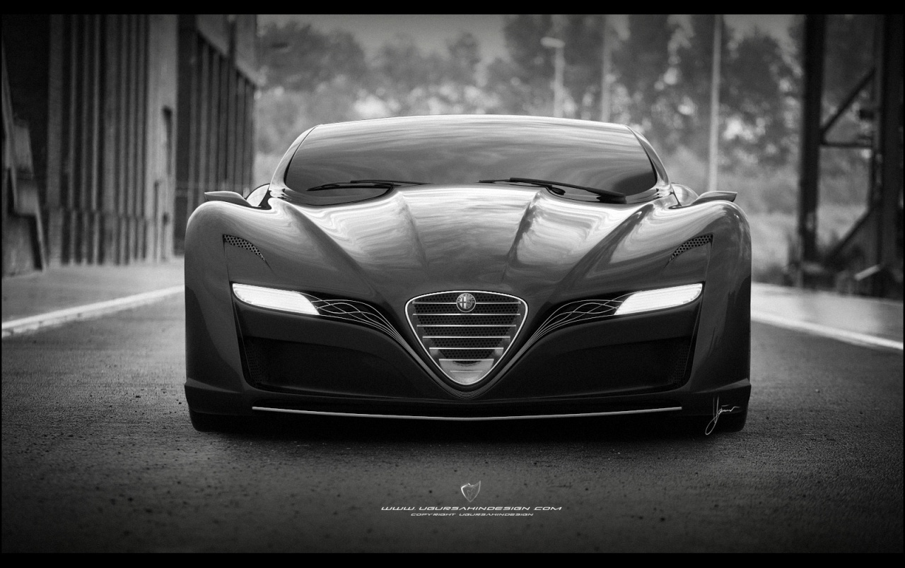 2012 Ugur Sahin Design Alfa Romeo 12C GTS Black Front wallpapers