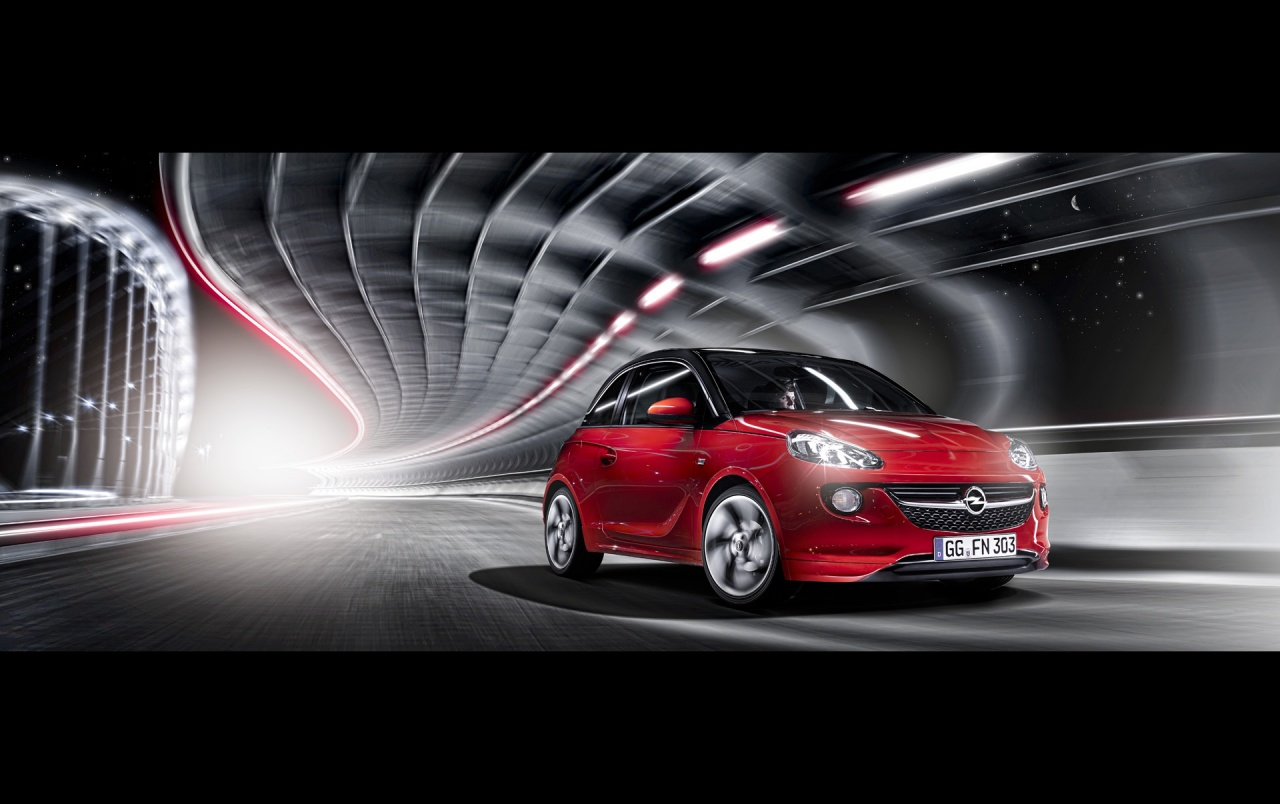 2013 opel adam red front motion wallpapers - Opel Performance Wallpaper