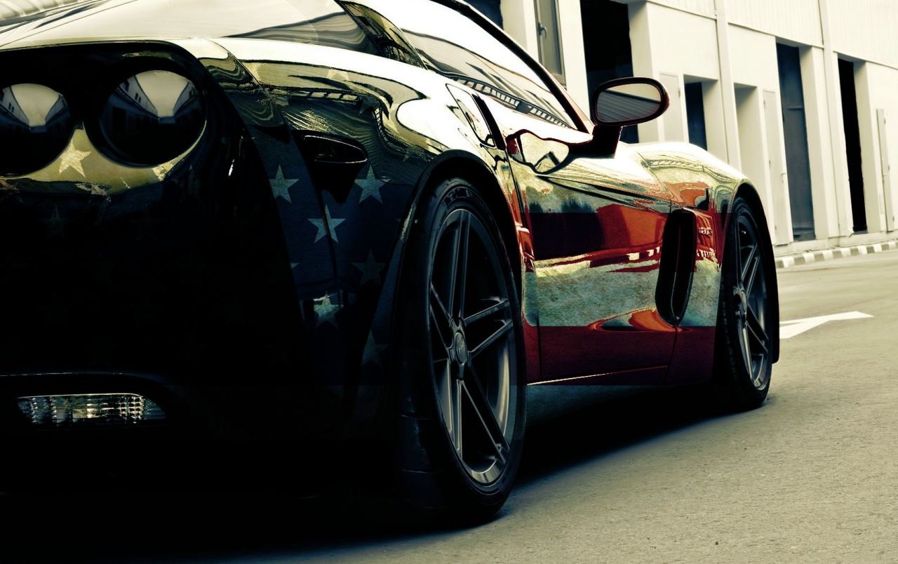 American Flag Corvette Section wallpapers