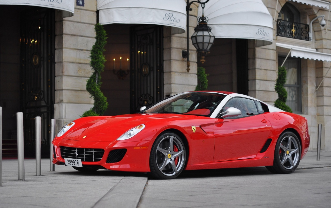 Red Ferrari 599 City Streets wallpapers
