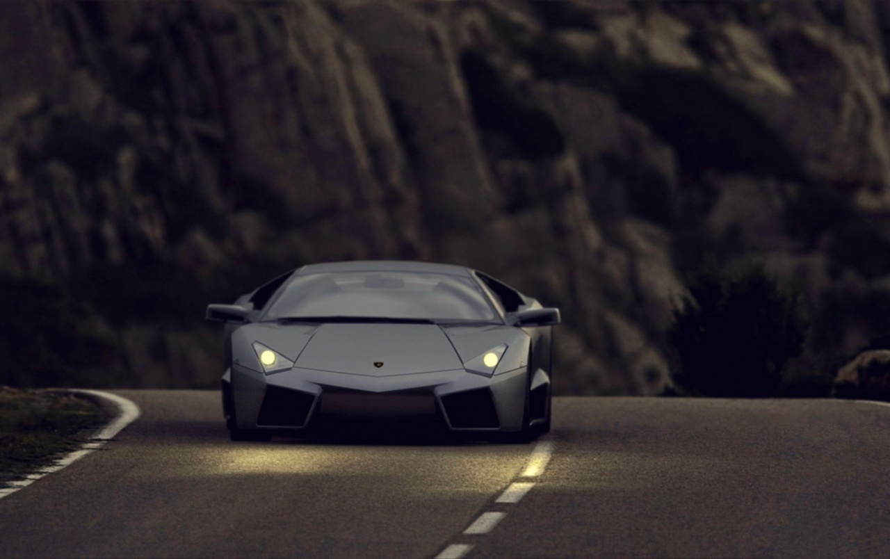Black Lamborghini Reventon At Night Wallpapers Black Lamborghini
