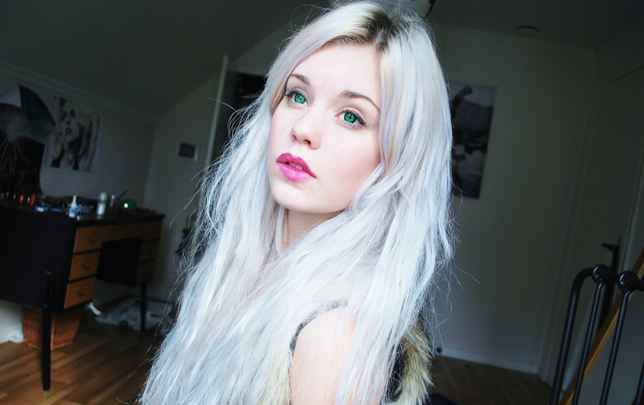 Girl With Silver Hair And Blue Eyes