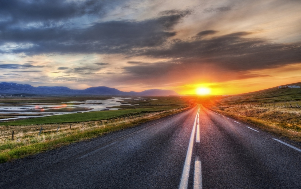 Road Scenery Horizon Sunset Wallpapers And Stock Photos