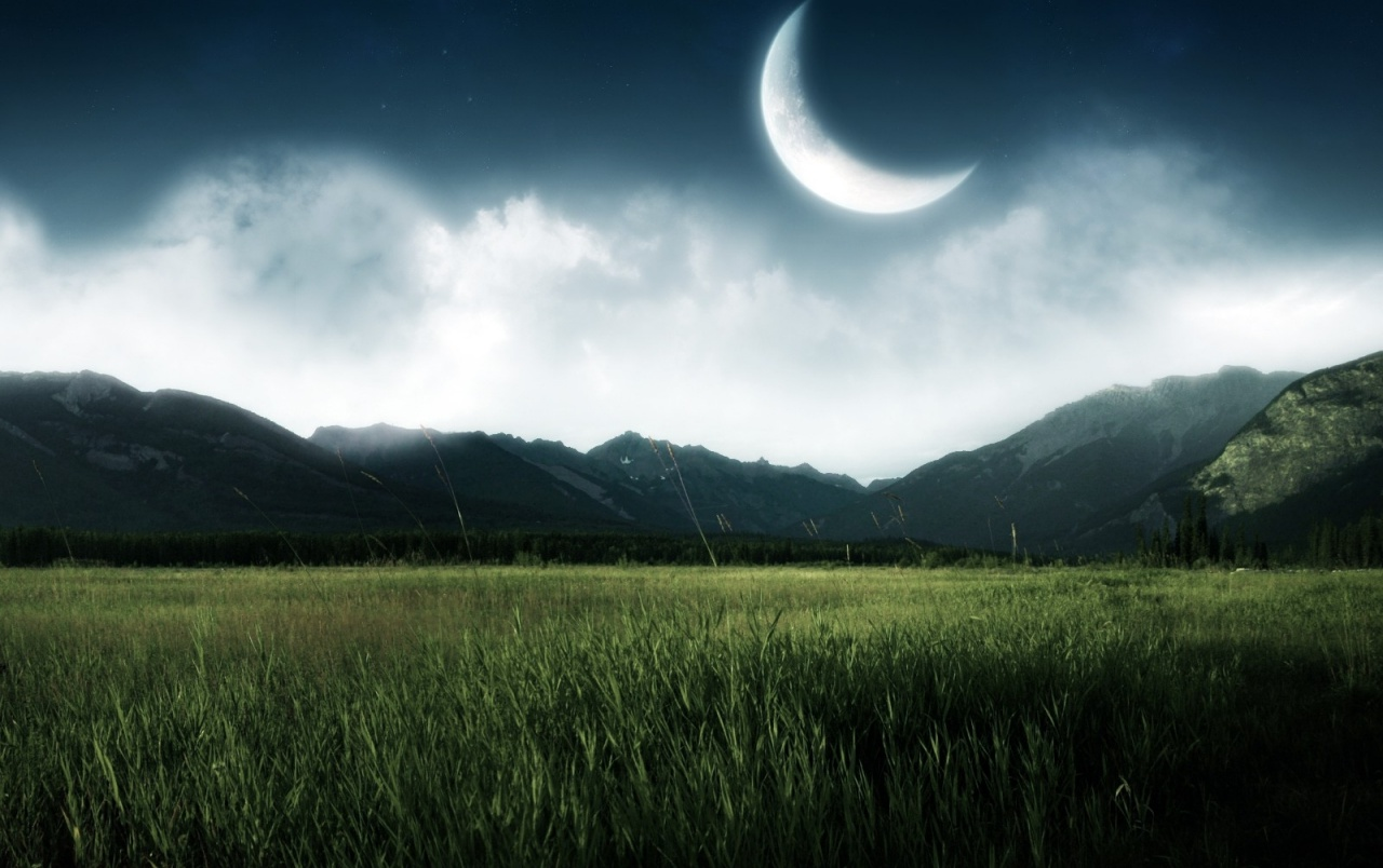 mountains night moon grass wallpapers
