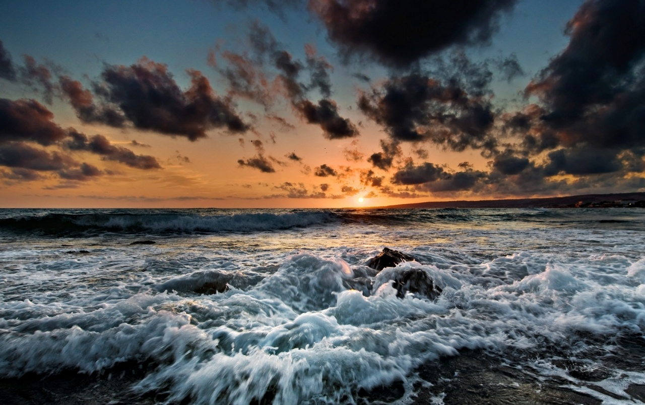 sunset clouds and ocean wallpaper - photo #4