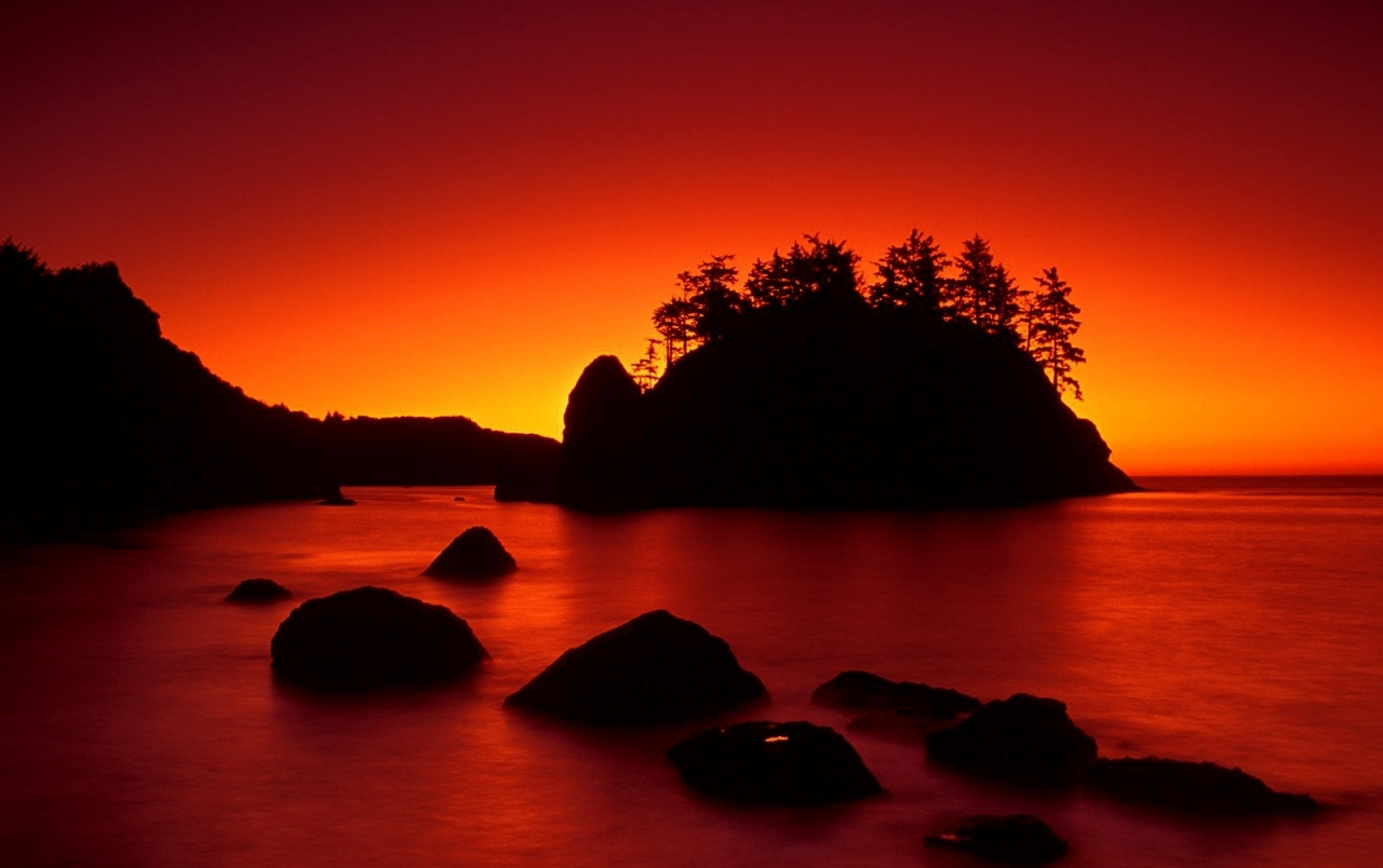 Original Red Sunset Ocean Dark Island Wallpapers