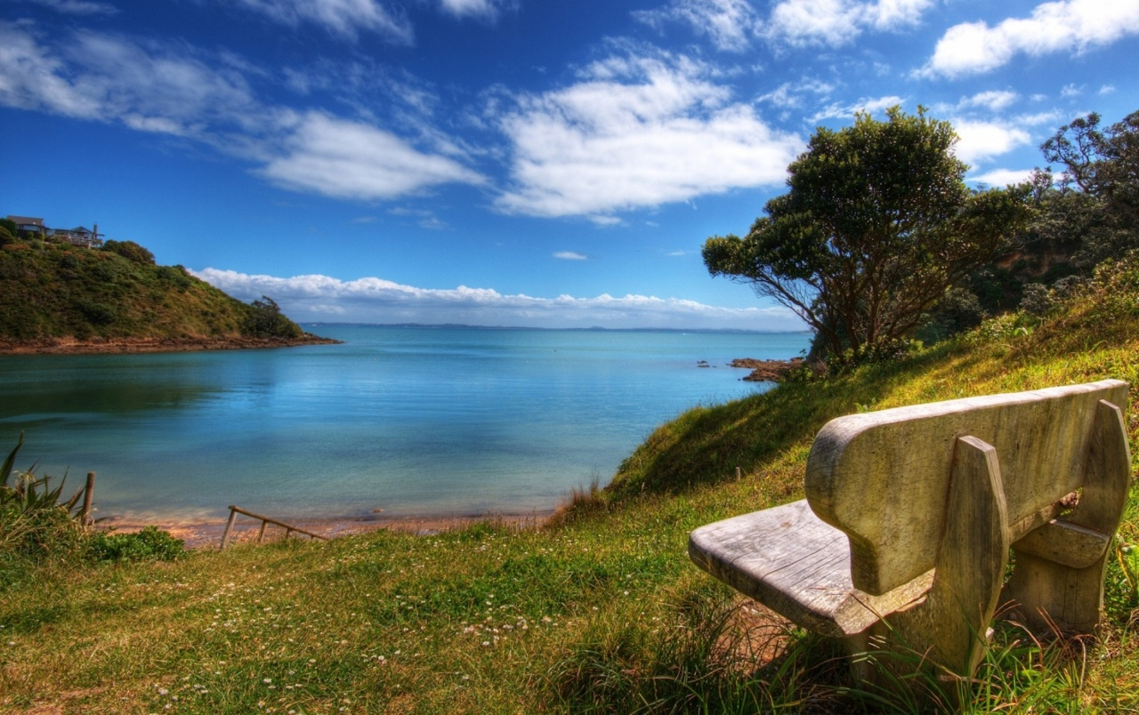 lovely ocean scenery & bench wallpapers | lovely ocean scenery