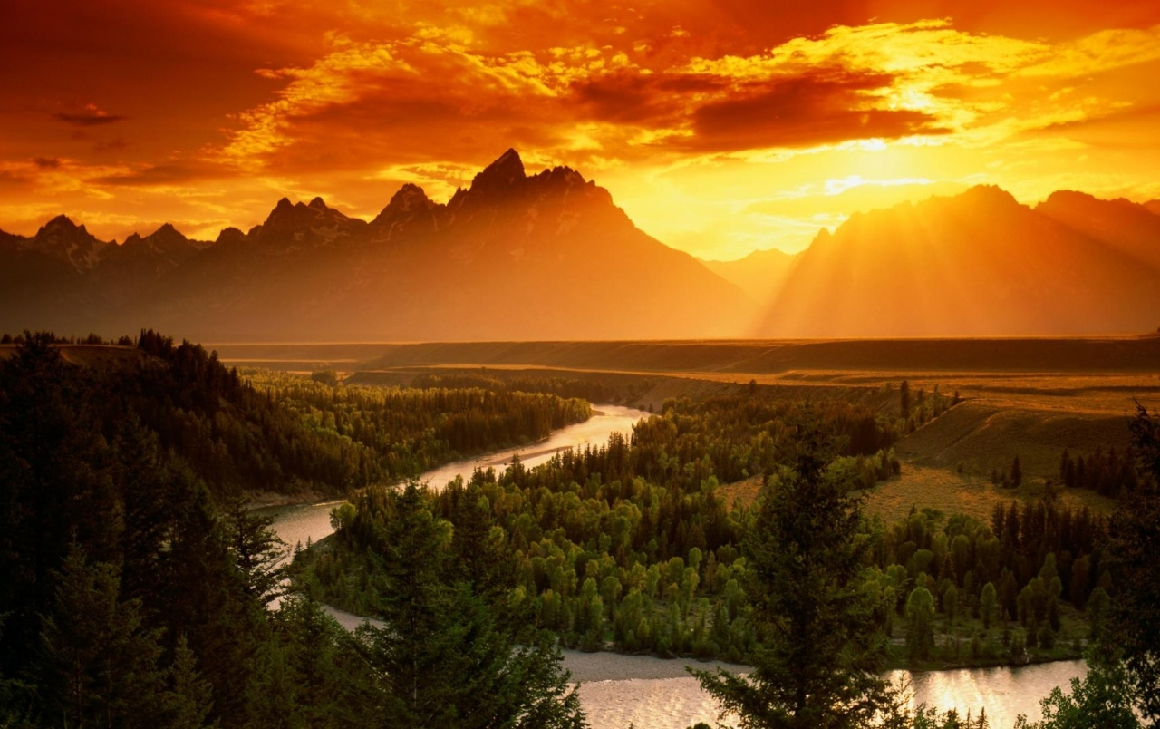 Red Sky Mountains Forest River wallpapers