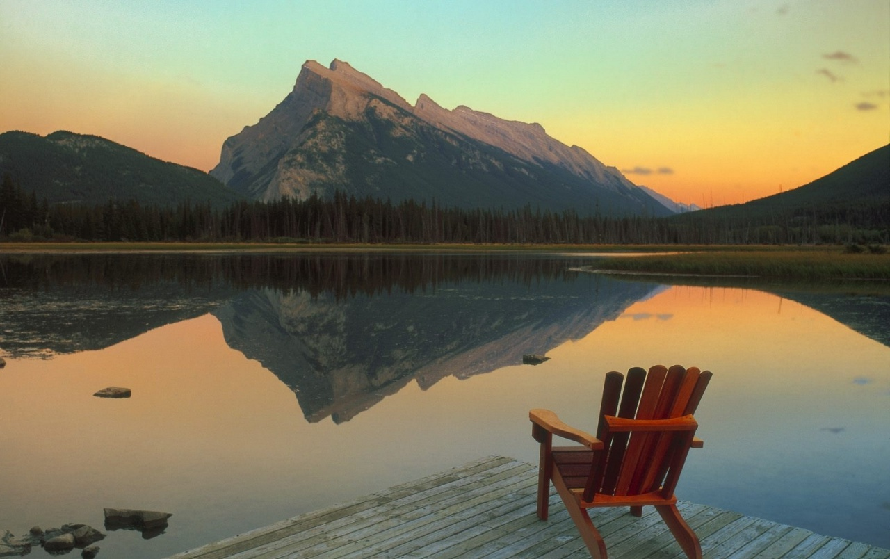 Mountains Lake & Wooden Chair wallpapers