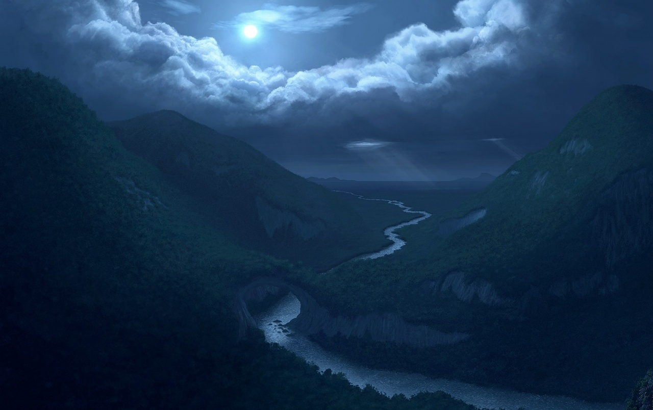 Moon Clouds Mountains & River Wallpapers