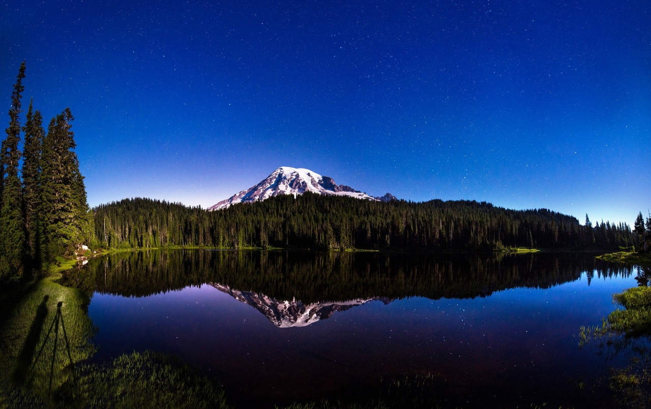 Originalwide Night Sky Mountain Forest Lake Wallpapers