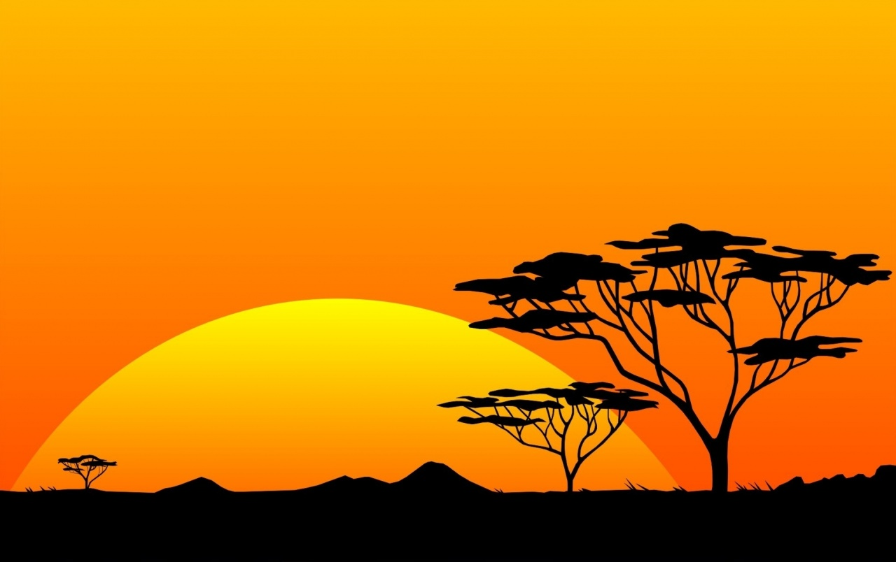 Yellow Sun & Orange Sky Africa wallpapers